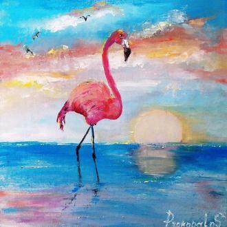 Картина маслом. Фламинго.  Холст на картоне. 30х30см.