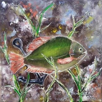 Картина маслом.Рыбка- исполняю желания.).25х25 см. Галерейная натяжка холста.