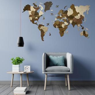 Деревянная многослойная карта мира со странами 100х60 см