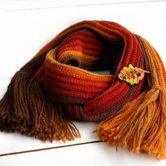 Комплект женский шерстяной шарф и брошь дубовый лист Осенние украшения Длинный вязаный шарф