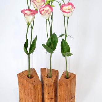 Ваза-триптих, ваза из дерева на три колбы, ваза из колб, ваза для цветов