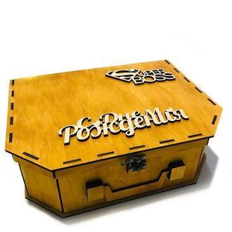 Подарочная деревянная коробка Подарочная деревянная коробка из дерева фанеры 33/25/10 см