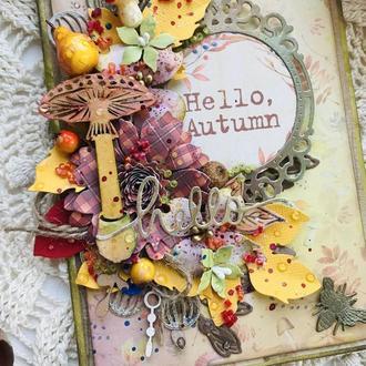Осенняя открытка. Открытка осенняя. Открытка подарочная. Конверт для денег.