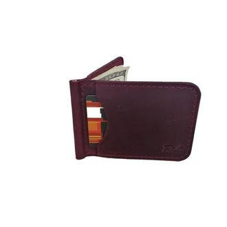 Бордовый кошелек с зажимом хн7 (10 цветов)