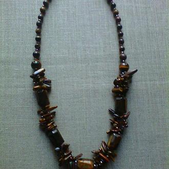 Ожерелье из натурального камня тигровый глаз