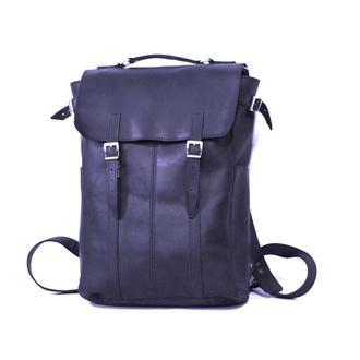 Мужской кожаный рюкзак синего цета с отделением для ноутбука