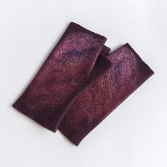 Женские бордовые митенки Перчатки без пальцев валяные из шерсти