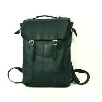 Мужской кожаный рюкзак зеленого цвета с отделением для ноутбука
