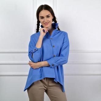 Асимметричная женская блузка, летняя рубашка из льна ASYMMETRICAL TUNIC