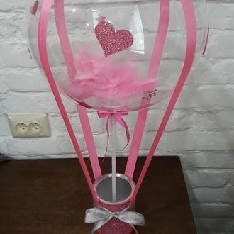 Подарочная коробка с шаром баблс для цветов і конфет