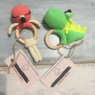 Брязкальце в'язана, розвиваюча іграшка, гризунок, прорізувач, брязкальце