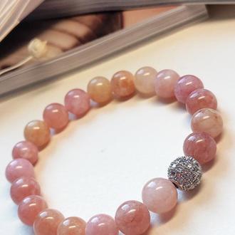 Браслет з натуральних каменів, браслет з кварцу, браслет з рожевого кварцу, рожевий браслет