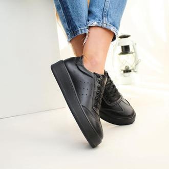 Женские черные кожаные кеды классика, с 36 по 41 размер