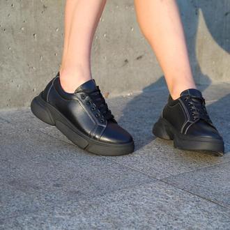Женские черные кожаные кеды, с 36 по 41 размер