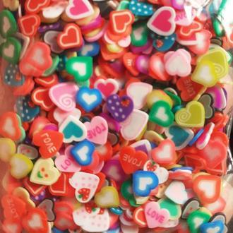 Фимо нарезка для слаймов сердечки