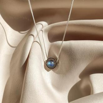 Минималистичная серебряная подвеска с натуральным камнем лабрадором, Чокер с камешком на шею