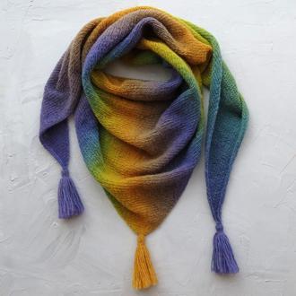 Вовняна вязана шаль жовто-бузкового кольору бактус зимний женский шерстяной подарок девушке женщине