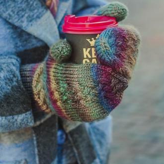 Перчатки женские вязаные подарочные зимние, яркие теплые варежки для девушки, подарок на Новый год