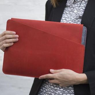 """Чехол для ноутбука MacBook Pro 13"""" из натуральной кожи и фетра красный"""