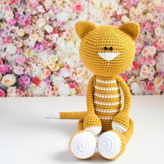 Вязаный полосатый кот. Первая игрушка. Эко-игрушка. Интерьерная игрушка. Подарок новорожденному.