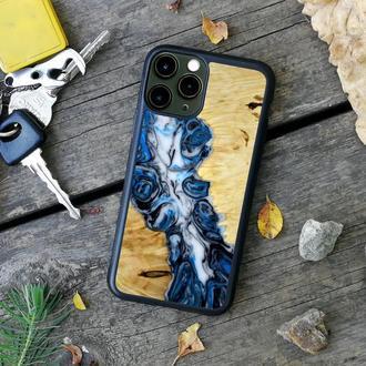 Защитный чехол на iPhone 6/6+/7x/7+x/X/Xr/Xs/11 из дерева и смолы