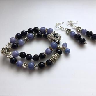 """Комплект: Браслет і сережки з натуральних каменів """"Місячна соната"""""""