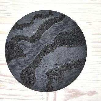 Подставка под горячее черная круглая дерево матовая