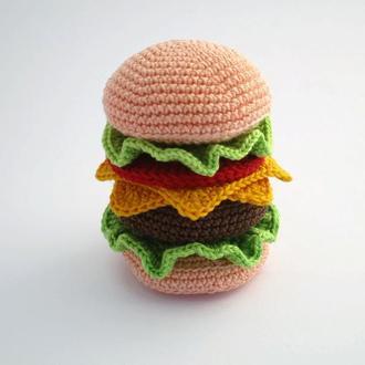 Гамбургер/вязаные игрушки в виде еды/тактильные игры
