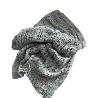 Шарф вязаный серый