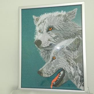 """Картина, вышивка бисером """"Хищный взгляд"""" Волки"""