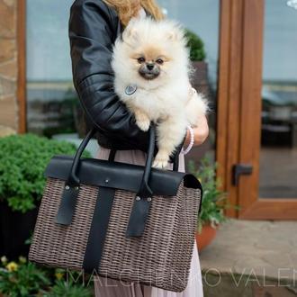 Плетеная сумка с кожаными ручками Сумка- саквояж  Черная сумка- портфель