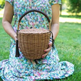 Круглая корзина, Круглая корзина с крышкой,  Сумка-корзина Jane Birkin Коричневая сумка корзина
