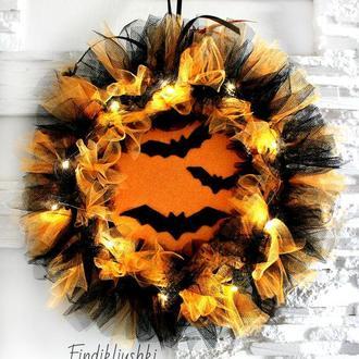 Венок на Хэллоуин с подсветкой. Декор на Хеллоуин. Halloween Интерьерный венок