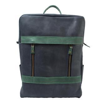 Двухцветный кожаный рюкзак. 01001//синий+зеленый