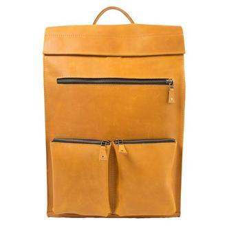 Кожаный рюкзак. 01003/желтый