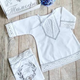 Крестильная рубашка сорочка классическая с золотой или серебристой тесьмой