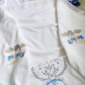 Махрова крыжма для крещения с шикарными вышивками