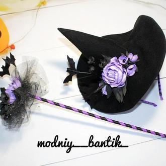 Ободок на Хэллоуин, Halloween, обруч на хеллоуин, хеловін, шляпа ведьмы, шляпка ведьмочки