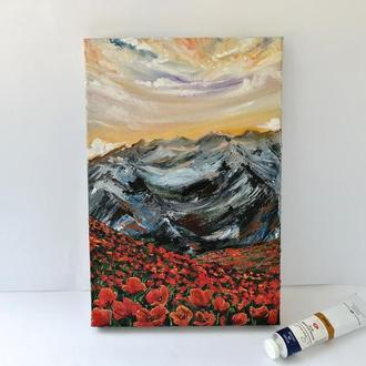 Картина маслом маковое поле, Горный пейзаж маслом, Пейзаж с цветами, Красные маки картина