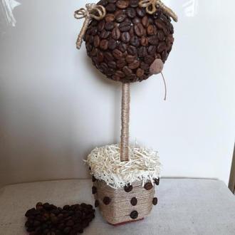 Кофейное деревце со стрекозами. Декор. Подарок.
