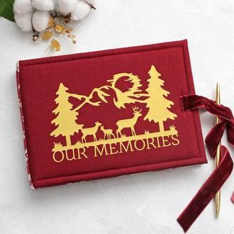 Червоний новорічний альбом, Красный зимний альбом, Зимовий альбом з оленями, Подарунок чоловіку