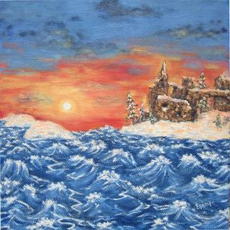 картина маслом закат над замком