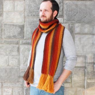 Мужской шерстяной шарф с бахромой Длинный зимний шарф в полоску Коричневый терракотовый горчичный