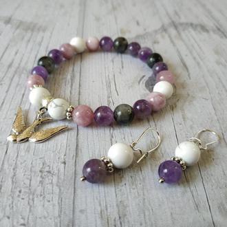 Набір: браслет + сережки з натурального каменю С2 Ж9