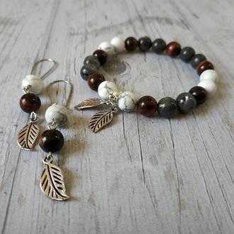Набір: браслет + сережки з натурального каменю С1 Ж16