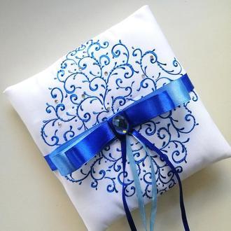 Свадебная подушечка для обручальных колец, blue роспись
