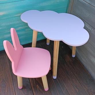 Детский набор мебели, стул-зайка, стол-облако, мебель из дерева, мебель для детской