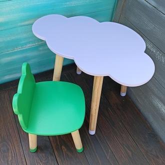 Детский набор мебели, стул-облако, стол-облако, мебель из дерева, мебель для детской