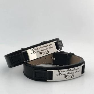Кожанный браслет с гравировкой