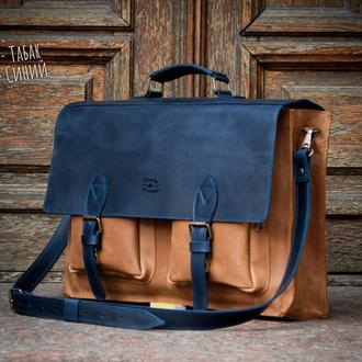 Мужской кожаный портфель для ноутбука и документов. Деловая кожаная сумка.